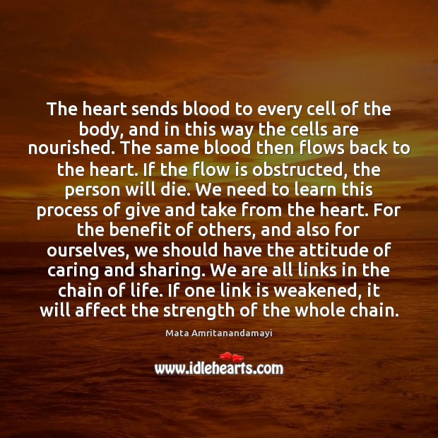 The heart sends blood to every cell of the body, and in Attitude Quotes Image