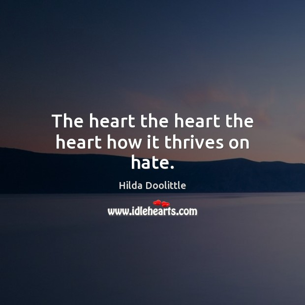 The heart the heart the heart how it thrives on hate. Hilda Doolittle Picture Quote