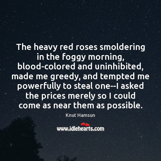 The heavy red roses smoldering in the foggy morning, blood-colored and uninhibited, Image