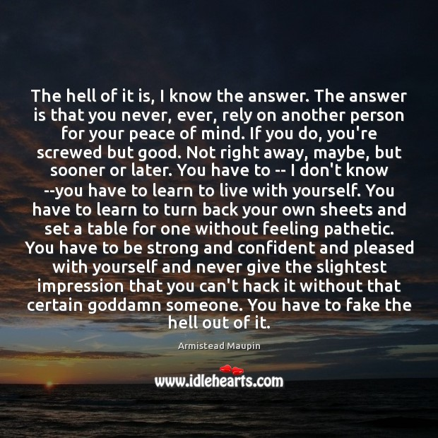 The hell of it is, I know the answer. The answer is Strong Quotes Image