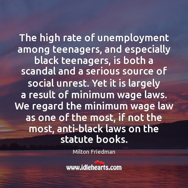 Image, The high rate of unemployment among teenagers, and especially black teenagers, is