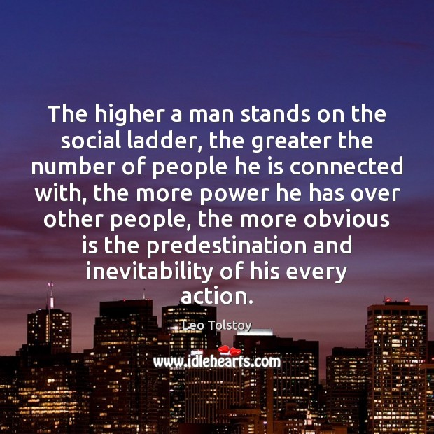The higher a man stands on the social ladder, the greater the Image