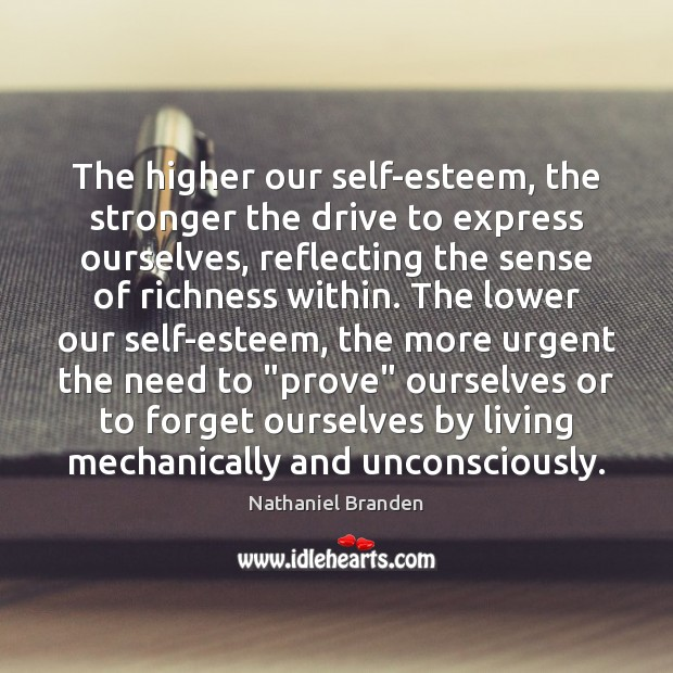 The higher our self-esteem, the stronger the drive to express ourselves, reflecting Image
