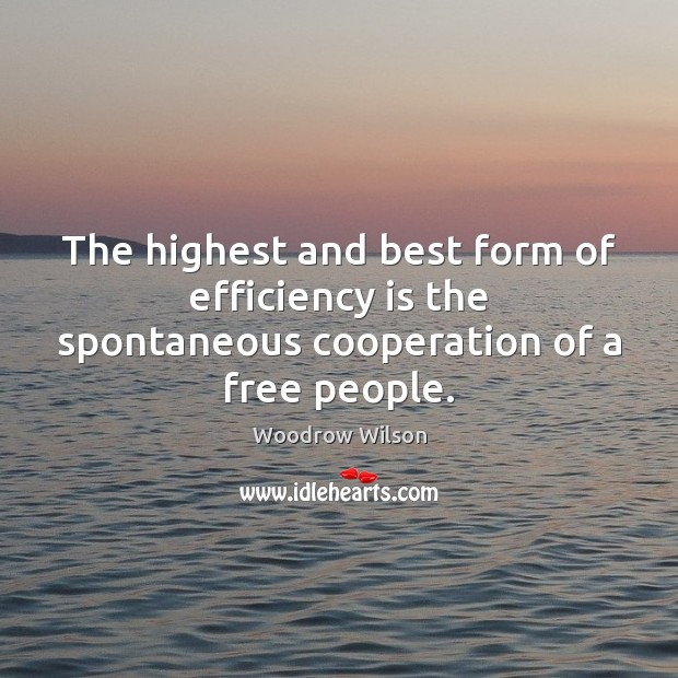 The highest and best form of efficiency is the spontaneous cooperation of a free people. Image