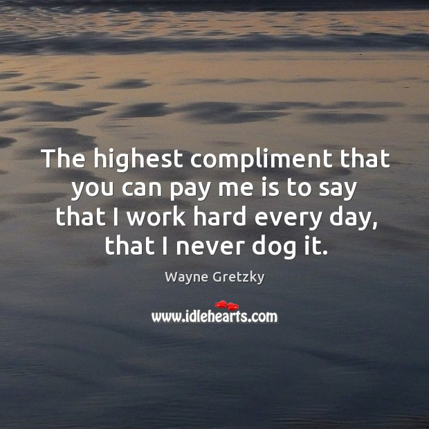 The highest compliment that you can pay me is to say that I work hard every day, that I never dog it. Wayne Gretzky Picture Quote