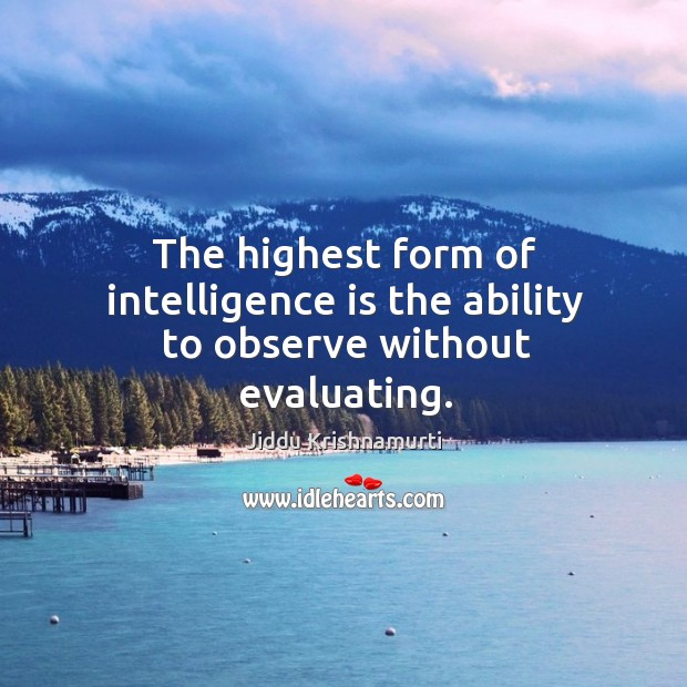 The highest form of intelligence is the ability to observe without evaluating. Image
