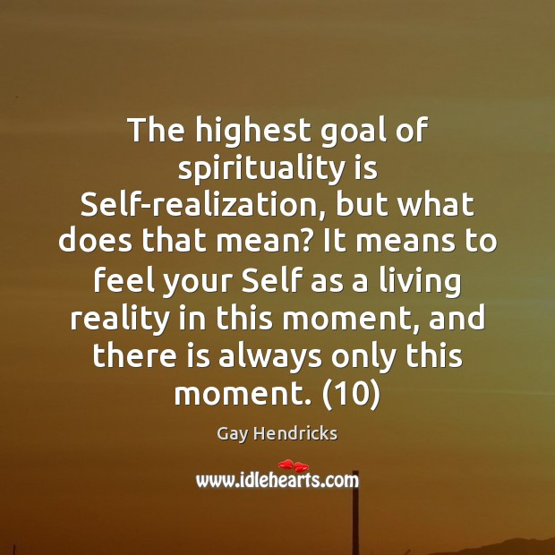 The highest goal of spirituality is Self-realization, but what does that mean? Gay Hendricks Picture Quote