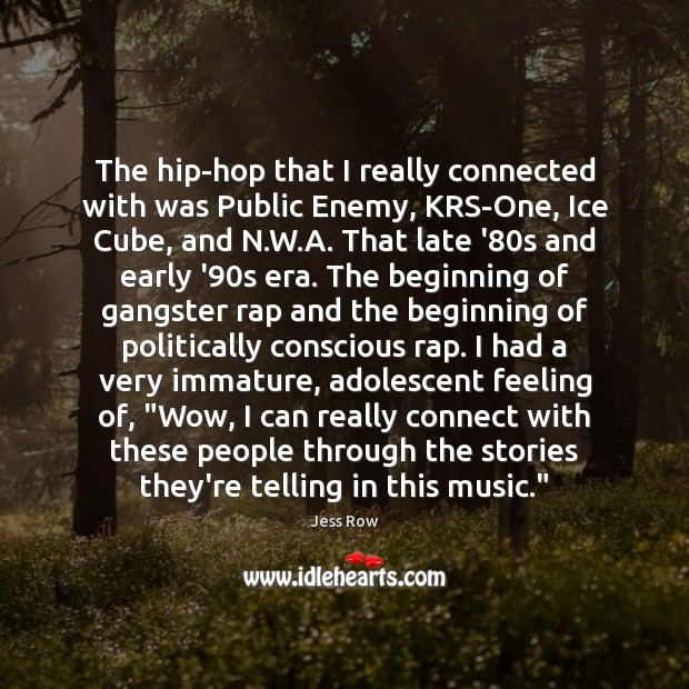 The hip-hop that I really connected with was Public Enemy, KRS-One, Ice Image