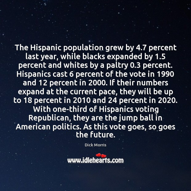 Dick Morris Picture Quote image saying: The Hispanic population grew by 4.7 percent last year, while blacks expanded by 1.5