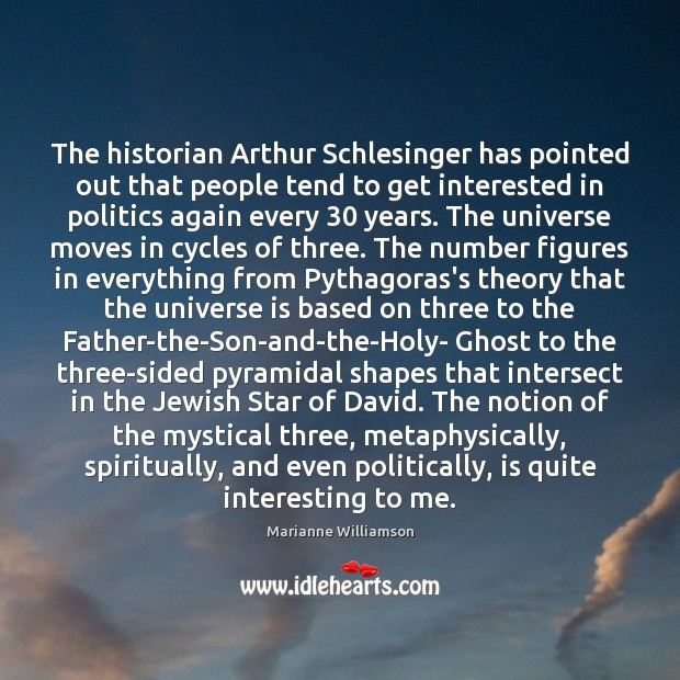 The historian Arthur Schlesinger has pointed out that people tend to get Image