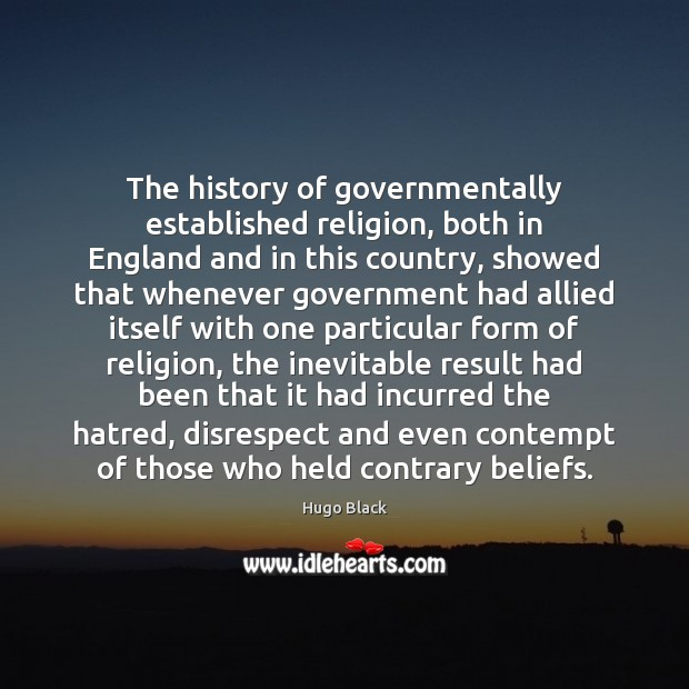The history of governmentally established religion, both in England and in this Image