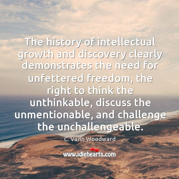 The history of intellectual growth and discovery clearly demonstrates the need for Image