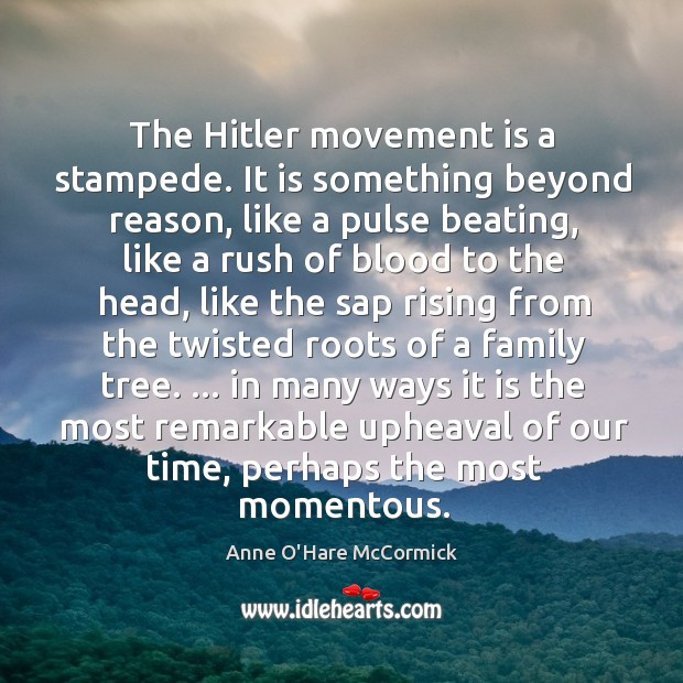 Image, The Hitler movement is a stampede. It is something beyond reason, like