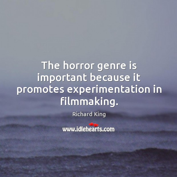 The horror genre is important because it promotes experimentation in filmmaking. Richard King Picture Quote