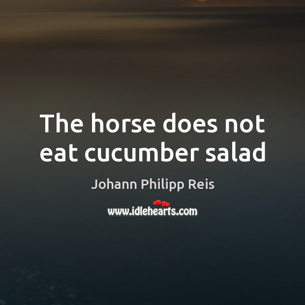 The horse does not eat cucumber salad Image