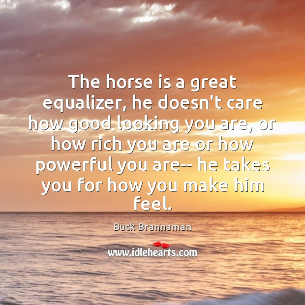 Image, The horse is a great equalizer, he doesn't care how good looking