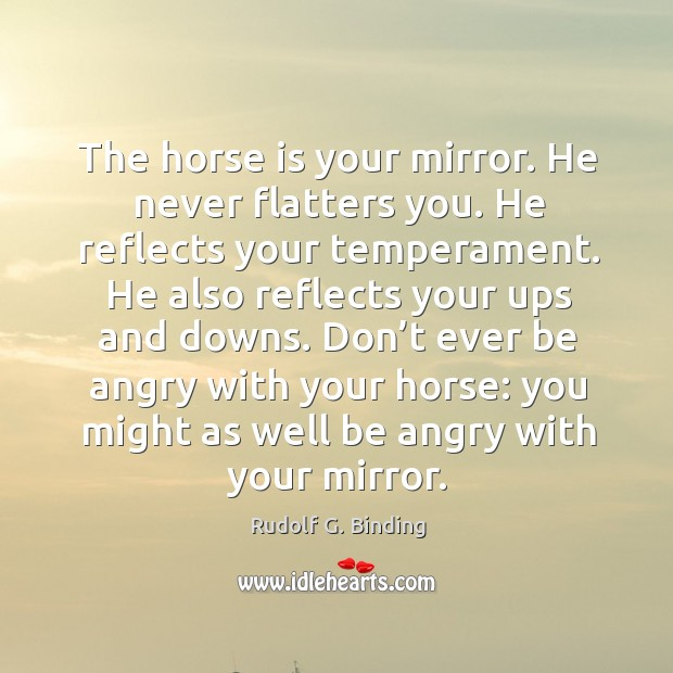 The horse is your mirror. He never flatters you. He reflects your Image