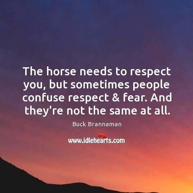 Image, The horse needs to respect you, but sometimes people confuse respect & fear.