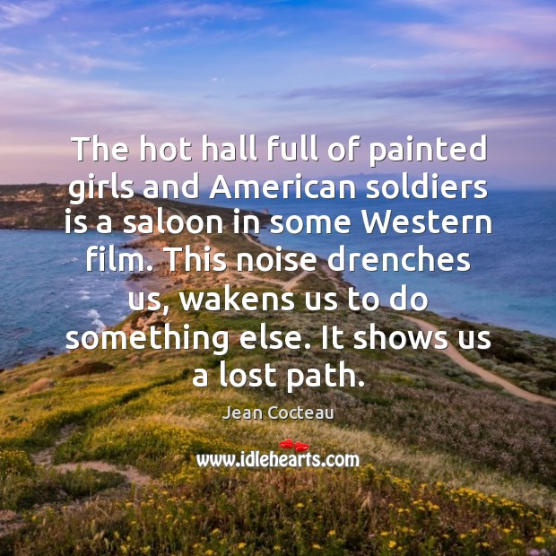 Image, The hot hall full of painted girls and American soldiers is a