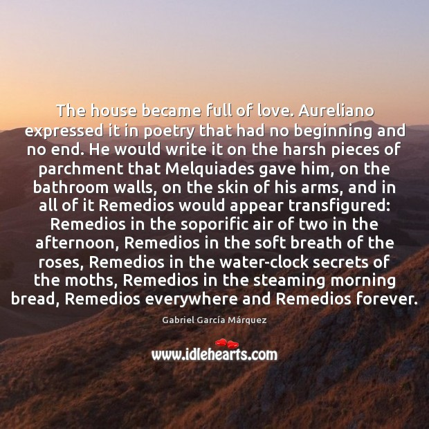 Image, The house became full of love. Aureliano expressed it in poetry that