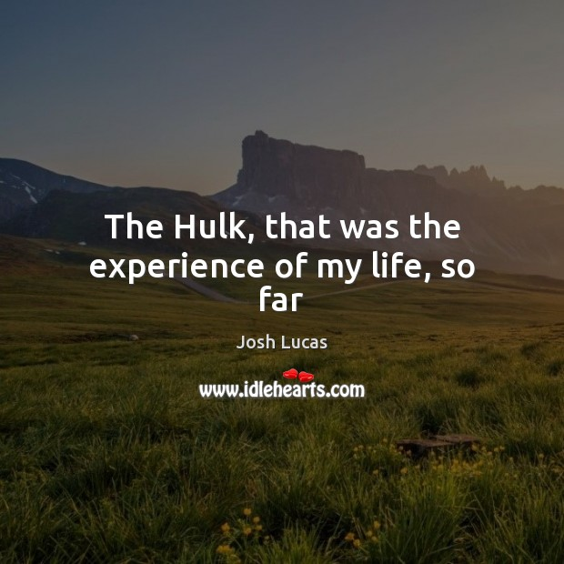 The Hulk, that was the experience of my life, so far Image