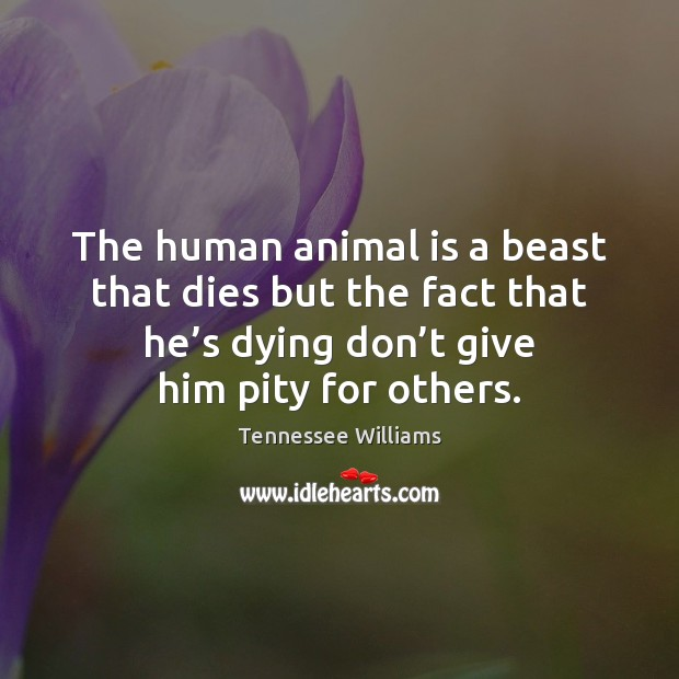 The human animal is a beast that dies but the fact that Tennessee Williams Picture Quote