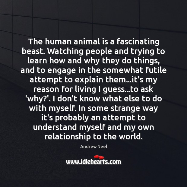 Image, The human animal is a fascinating beast. Watching people and trying to