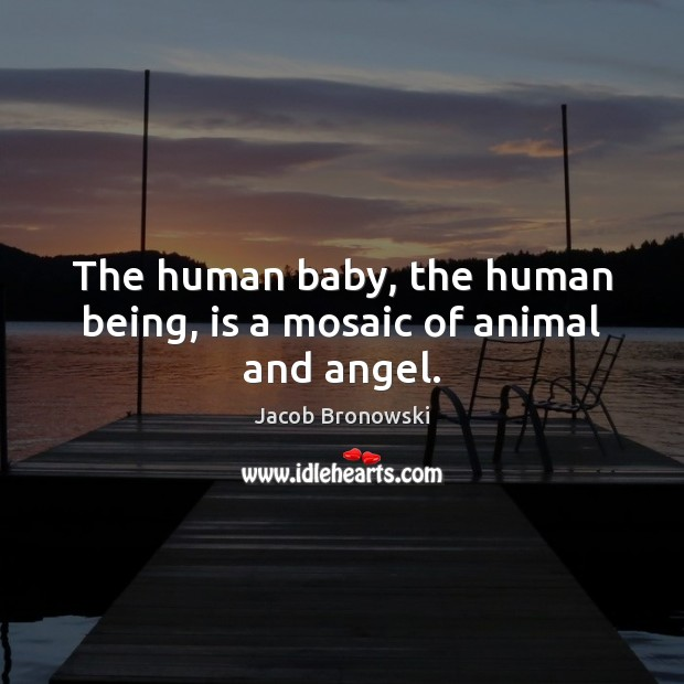 Image, The human baby, the human being, is a mosaic of animal and angel.