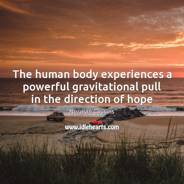 The human body experiences a powerful gravitational pull in the direction of hope Norman Cousins Picture Quote