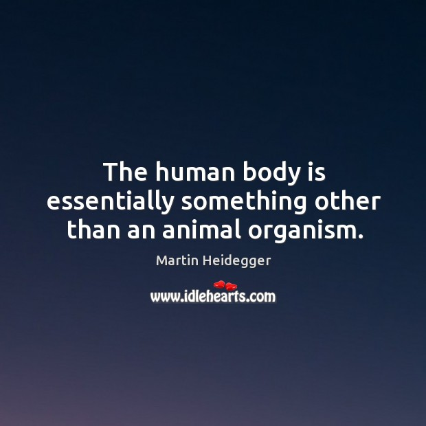 The human body is essentially something other than an animal organism. Image