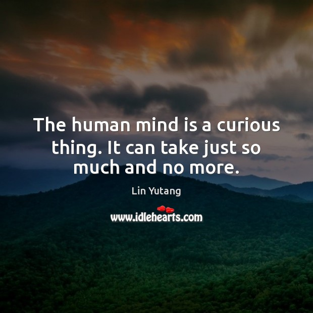 Image, The human mind is a curious thing. It can take just so much and no more.