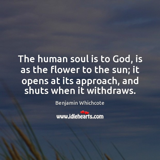 The human soul is to God, is as the flower to the Benjamin Whichcote Picture Quote