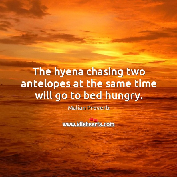 The hyena chasing two antelopes at the same time will go to bed hungry. Malian Proverbs Image
