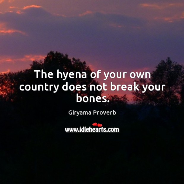 Image, The hyena of your own country does not break your bones.