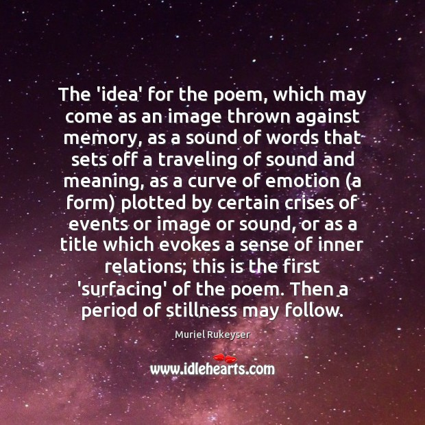 The 'idea' for the poem, which may come as an image thrown Muriel Rukeyser Picture Quote