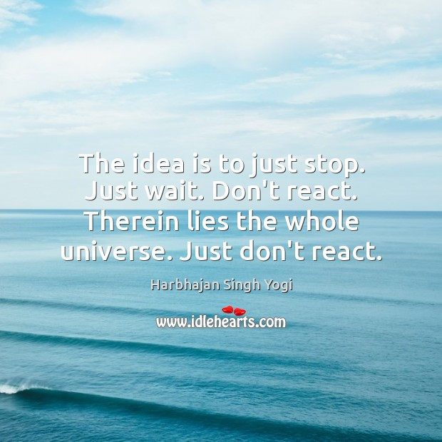 The idea is to just stop. Just wait. Don't react. Therein lies Harbhajan Singh Yogi Picture Quote