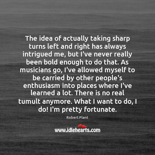 The idea of actually taking sharp turns left and right has always Robert Plant Picture Quote