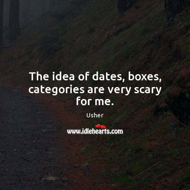 Image, The idea of dates, boxes, categories are very scary for me.
