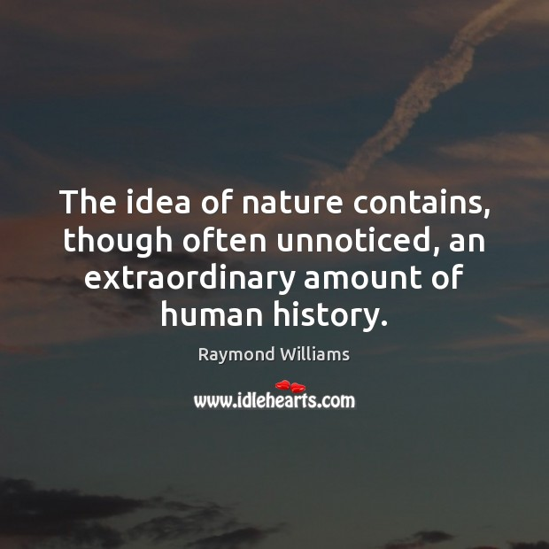 The idea of nature contains, though often unnoticed, an extraordinary amount of Image