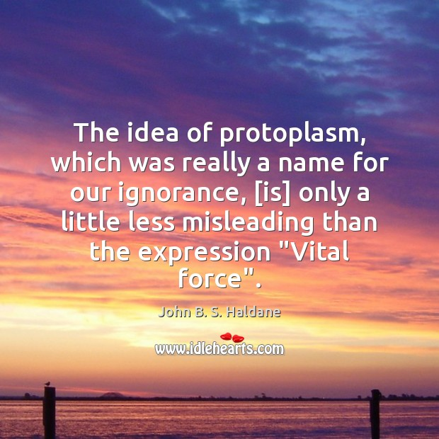 The idea of protoplasm, which was really a name for our ignorance, [ John B. S. Haldane Picture Quote