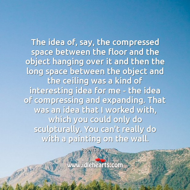 The idea of, say, the compressed space between the floor and the Robert Barry Picture Quote