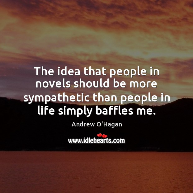 The idea that people in novels should be more sympathetic than people Andrew O'Hagan Picture Quote