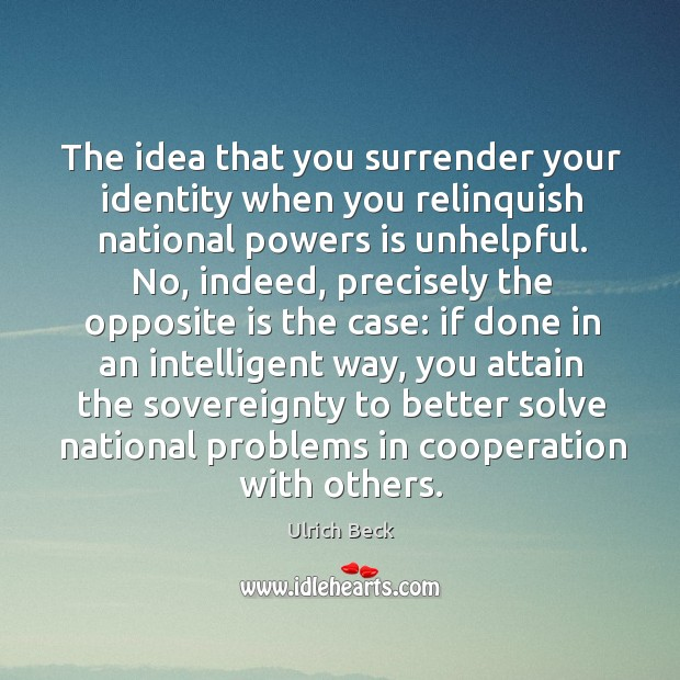 The idea that you surrender your identity when you relinquish national powers is unhelpful. Image