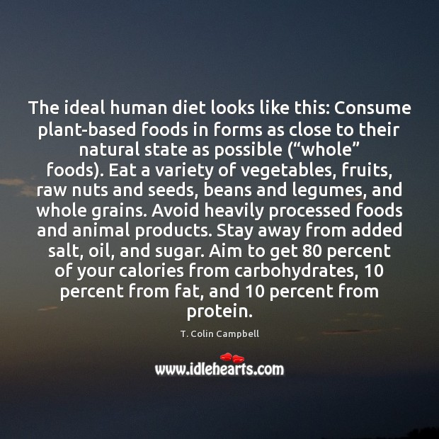 The ideal human diet looks like this: Consume plant-based foods in forms Image