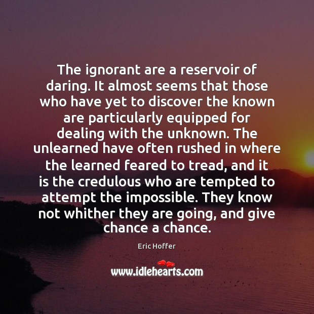 The ignorant are a reservoir of daring. It almost seems that those Eric Hoffer Picture Quote