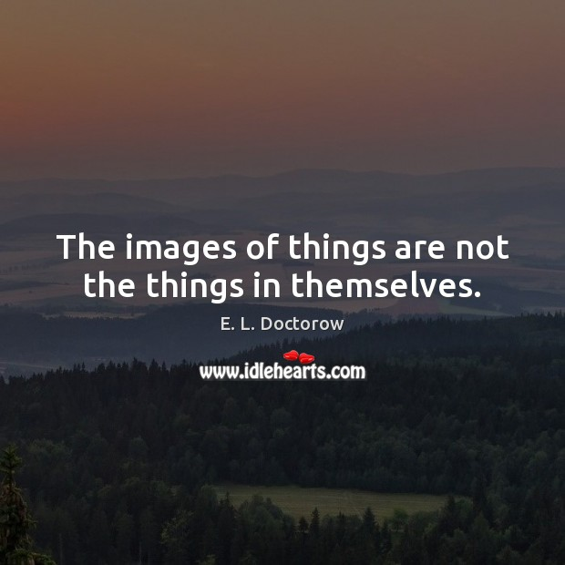 The images of things are not the things in themselves. E. L. Doctorow Picture Quote