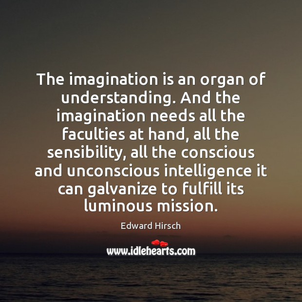 Image, The imagination is an organ of understanding. And the imagination needs all