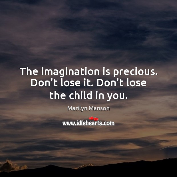 The imagination is precious. Don't lose it. Don't lose the child in you. Imagination Quotes Image