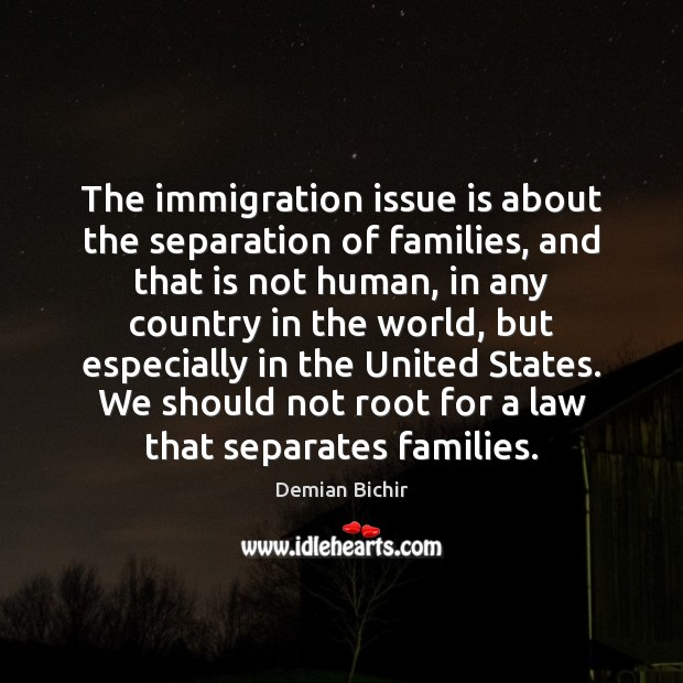 The immigration issue is about the separation of families, and that is Demian Bichir Picture Quote
