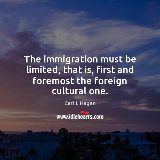 Image, The immigration must be limited, that is, first and foremost the foreign cultural one.